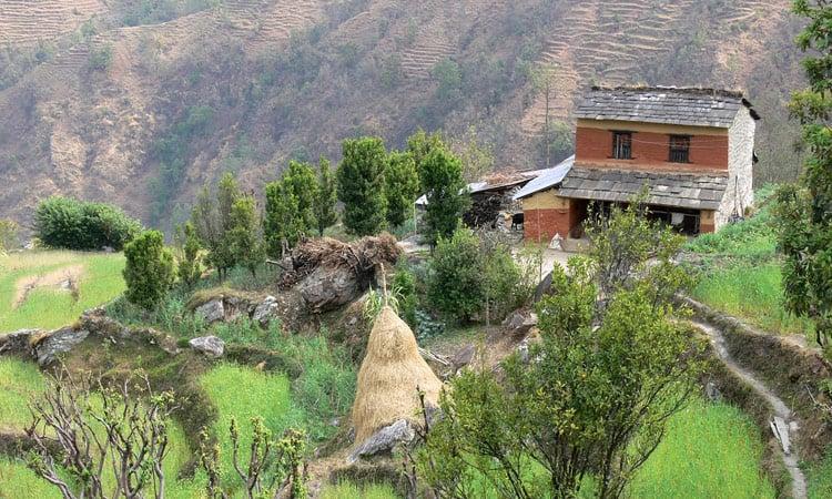 Ein typisches Nepalesisches Bauernhaus