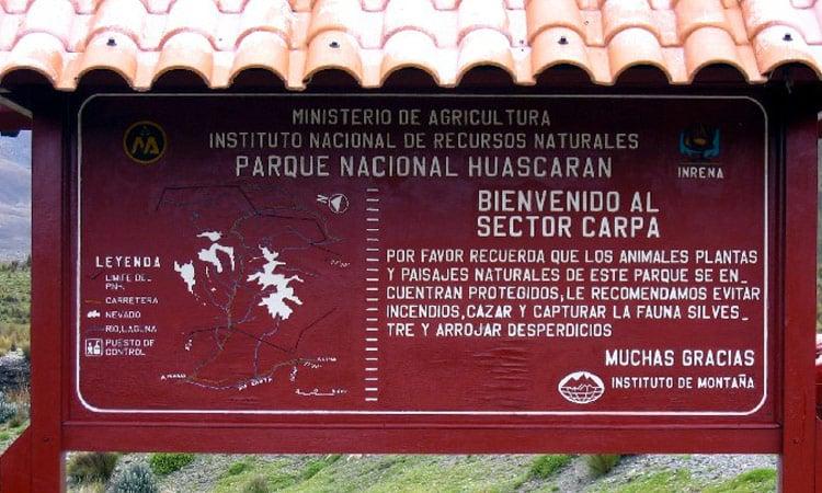 Der Eingang zum Huascaran National Park