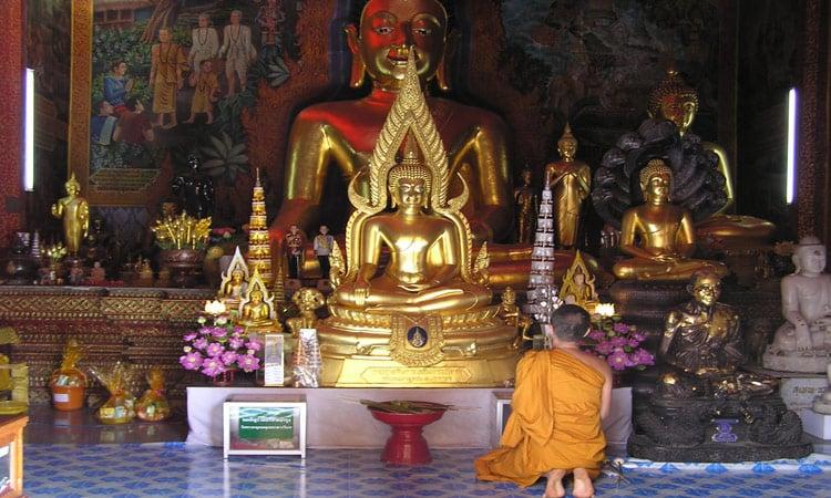 Ein Mönchen betet vor den goldenen Buddhas