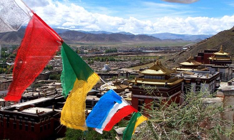 Ein schöner Blick über Shigatse und das Tashilhunpo Kloster
