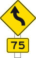 Kurven Warnschild mit Geschwindigkeitsempfehlung