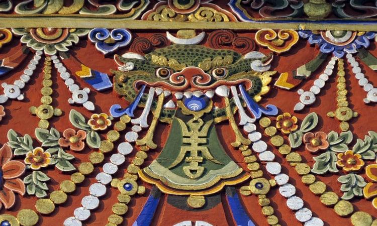 Drachenmotiv Wandmalerei in Bhutan