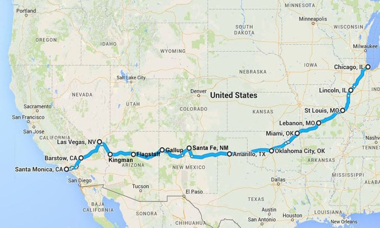 USA - Historische Route 66 Karte